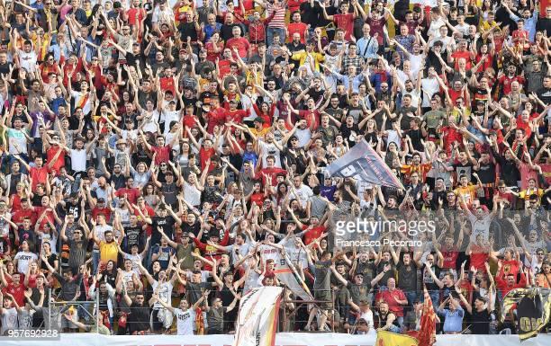 Benevento Calcio supporters cheer their team during the serie A match between Benevento Calcio and Genoa CFC at Stadio Ciro Vigorito on May 12 2018...