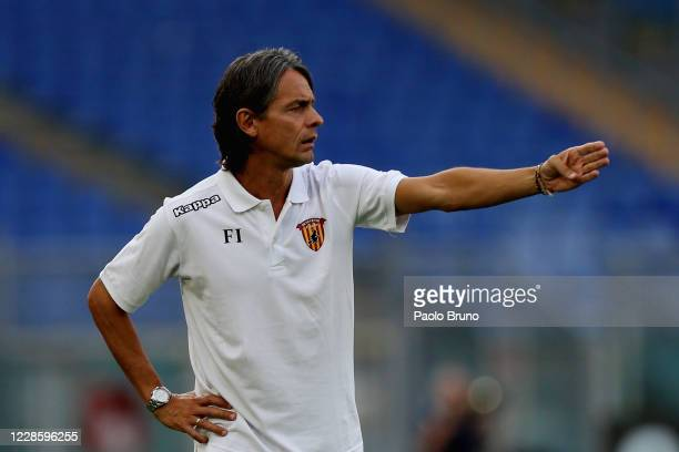 Benevento head coach Filippo Inzaghi gestures during the friendly match between SS Lazio and Benevento at Olimpico Stadium on September 19, 2020 in...