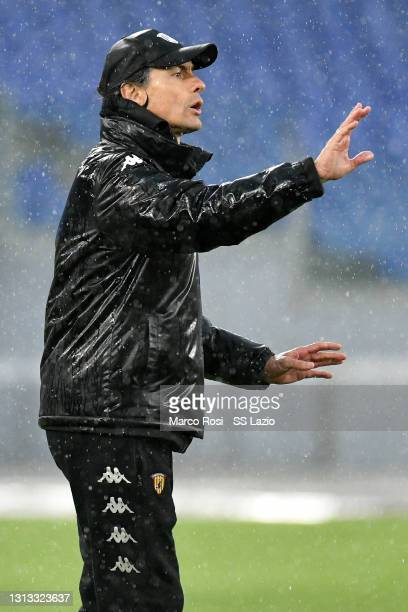 Benevento head coach Filippo Inzaghi reacts during the Serie A match between SS Lazio and Benevento Calcio at Stadio Olimpico on April 18, 2021 in...