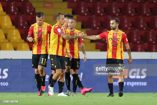 Benevento players celebrate the 1-0 goal scored by Marco Sau during the serie B match between Benevento Calcio and AS Livorno at Stadio Ciro Vigorito...