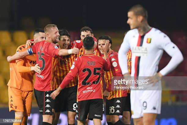 Benevento players celebrate the victory, beside the disappointment of Gianluca Scamacca of Genoa CFC after the Serie A match between Benevento Calcio...