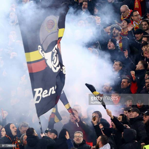 Benevento supporters during the serie A match between AS Roma and Benevento Calcio at Stadio Olimpico on February 11 2018 in Rome Italy