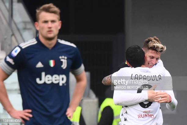 Benevento's Argentine forward Adolfo Gaich celebrates after opening the scoring during the Italian Serie A football match Juventus Turin vs Benevento...