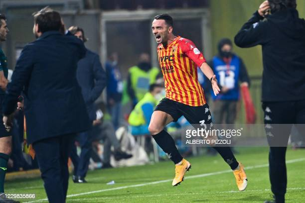 Benevento's Italian defender Gaetano Letizia celebrates after scoring an equalizer during the Italian Serie A football match Benevento vs Juventus on...