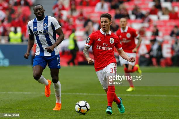 SL Benfcas Defender Alex Grimaldo from Spain and FC Porto Forward Moussa Marega from Mali during the Premier League 2017/18 match between SL Benfica...