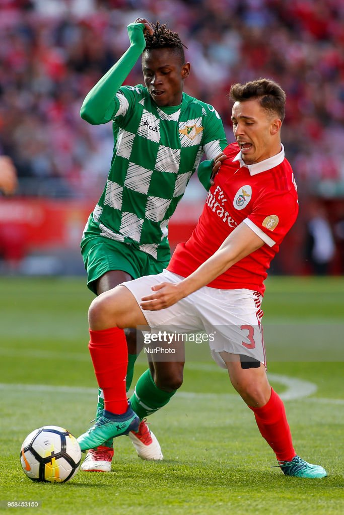 SL Benfcas Defender Alex Grimaldo from Spain (R) and Moreirense FC defender Alfa Semedo from Guinea-Bissau (L) during the Premier League 2017/18 match between SL Benfica and Moreirense FC, at Estadio da Luz on May 13, 2018 in Lisbon, Portugal.