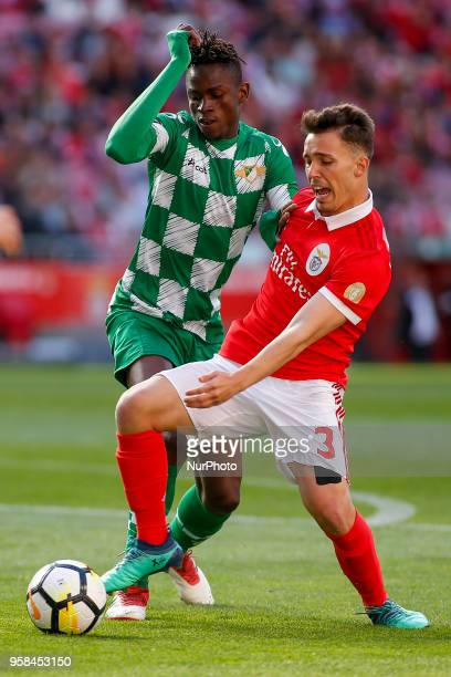 SL Benfcas Defender Alex Grimaldo from Spain and Moreirense FC defender Alfa Semedo from GuineaBissau during the Premier League 2017/18 match between...