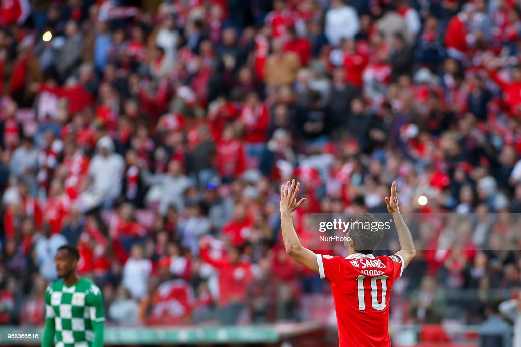 SL Benfcas Forward Jonas from Brazil celebrating after scoring a goal during the Premier League 2017/18 match between SL Benfica and Moreirense FC, at Estadio da Luz on May 13, 2018 in Lisbon, Portugal.