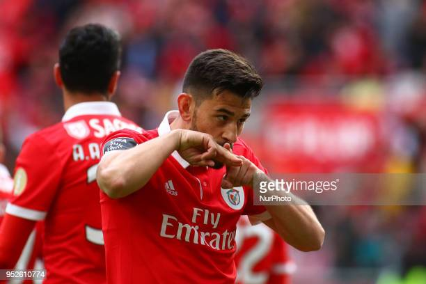 SL Benfcas Forward Pizzi from Portugal celebrants after scoring a goal during the Premier League 2017/18 match between SL Benfica vs CD Tondela at...