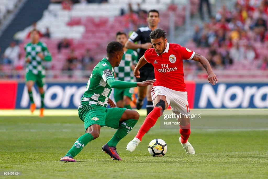 SL Benfcas Midfielder Eduardo Salvio from Argentina (R) and Moreirense FC defender Pierre Sagna from Senegal (L) during the Premier League 2017/18 match between SL Benfica and Moreirense FC, at Estadio da Luz on May 13, 2018 in Lisbon, Portugal.