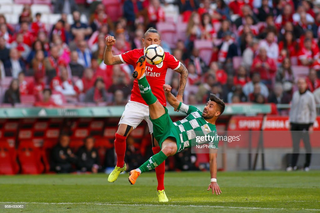SL Benfcas Midfielder Ljubomir Fejsa from Serbia (L) and Moreirense FC midfielder Toze from Portugal (R) during the Premier League 2017/18 match between SL Benfica and Moreirense FC, at Estadio da Luz on May 13, 2018 in Lisbon, Portugal.