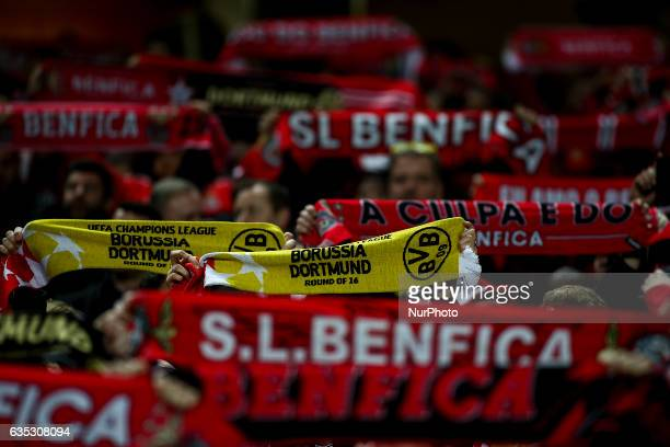 Benfica and Borussia Dortmund fans waving their charts during the Champions League football match between SL Benfica and Borussia Dortmund at Luz...