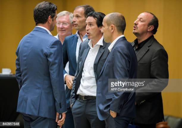 Benfica coach Rui Vitoria UEFA Coaching Ambassador Sir Alex Ferguson Juventus coach Massimiliano Allegri Paris SaintGermain coach Unai Emery Monaco's...