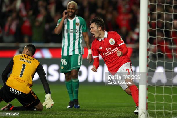 Benfica defender Alejandro Grimaldo from Spain celebrates Benfica second goal scored by SL Benfica forward Pizzi from Portugal during the match...