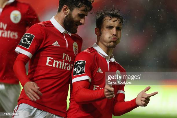 Benfica defender Alejandro Grimaldo from Spain celebrates scoring Benfica second goal during the Portuguese Primeira Liga match between SL Benfica...
