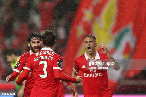 Benfica defender Alejandro Grimaldo from Spain celebrates scoring Benfica second goal with Rafa Silva during the Portuguese Primeira Liga match...