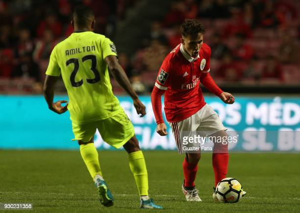 Benfica defender Alejandro Grimaldo from Spain in action during the Primeira Liga match between SL Benfica and CD Aves at Estadio da Luz on March 10...
