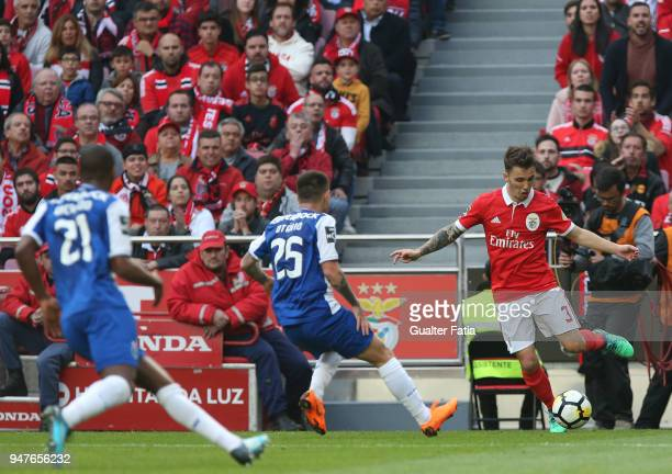 Benfica defender Alejandro Grimaldo from Spain in action during the Primeira Liga match between SL Benfica and FC Porto at Estadio da Luz on April 15...