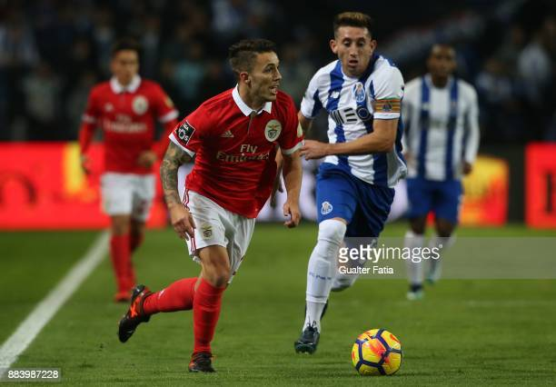 Benfica defender Alejandro Grimaldo from Spain with FC Porto midfielder Hector Herrera from Mexico in action during the Primeira Liga match between...