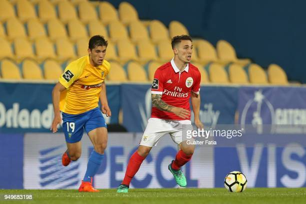 Benfica defender Alejandro Grimaldo from Spain with GD Estoril Praia midfielder Duarte from Portugal in action during the Primeira Liga match between...