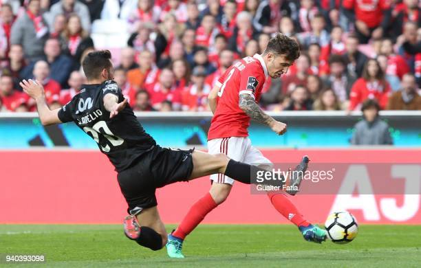 Benfica defender Alejandro Grimaldo from Spain with Vitoria Guimaraes defender Joao Aurelio from Portugal in action during the Primeira Liga match...