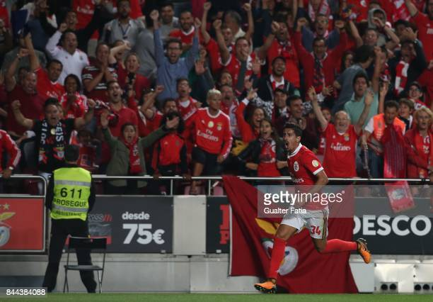 Benfica defender Andre Almeida from Portugal celebrates after scoring a goal during the Primeira Liga match between SL Benfica and Portimonense SC at...