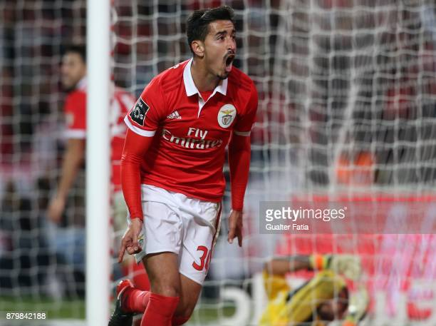Benfica defender Andre Almeida from Portugal celebrates after scoring a goal during the Primeira Liga match between SL Benfica and Vitoria Setubal at...