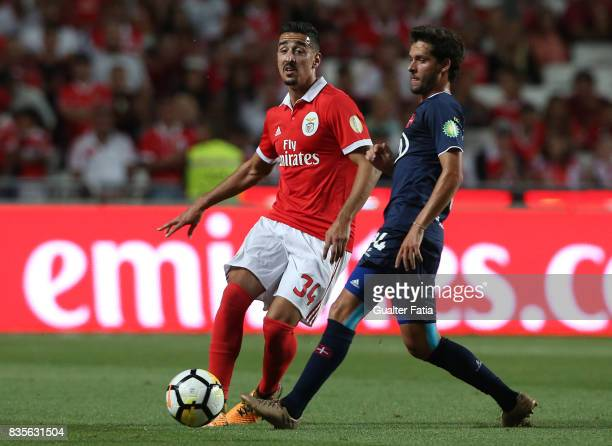 Benfica defender Andre Almeida from Portugal with CF Os Belenenses midfielder Filipe Chaby from Portugal in action during the Primeira Liga match...