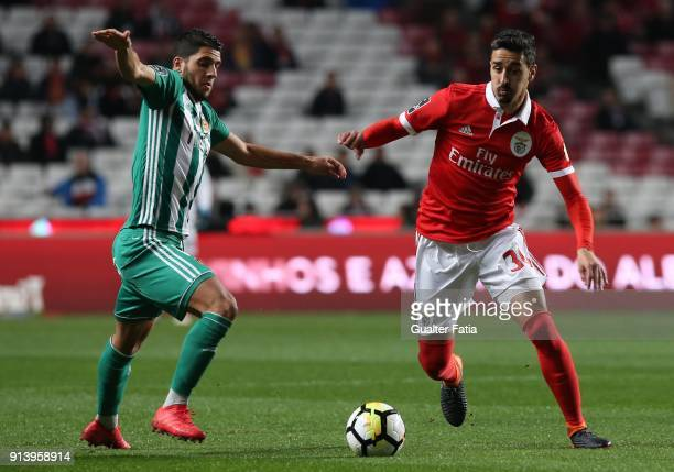 Benfica defender Andre Almeida from Portugal with Rio Ave FC midfielder Joao Novais from Portugal in action during the Primeira Liga match between SL...