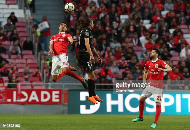 Benfica defender Andre Almeida from Portugal with Vitoria Guimaraes midfielder Mattheus Oliveira from Brazil in action during the Primeira Liga match...