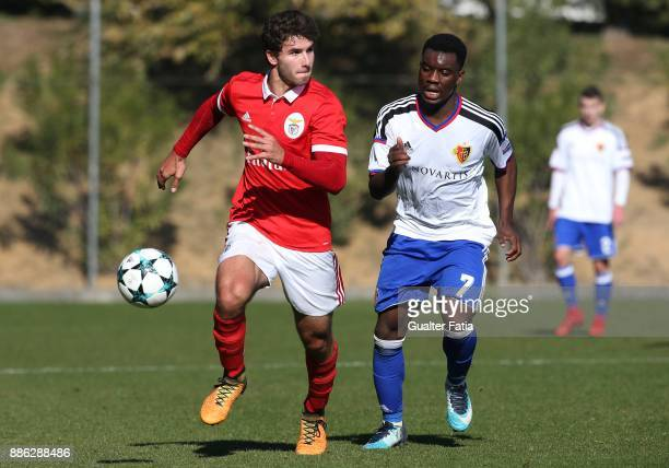 Benfica defender Goncalo Joao Fernandes Loureiro from Portugal with Basel forward Afimico Pululu from France in action during the UEFA Youth League...