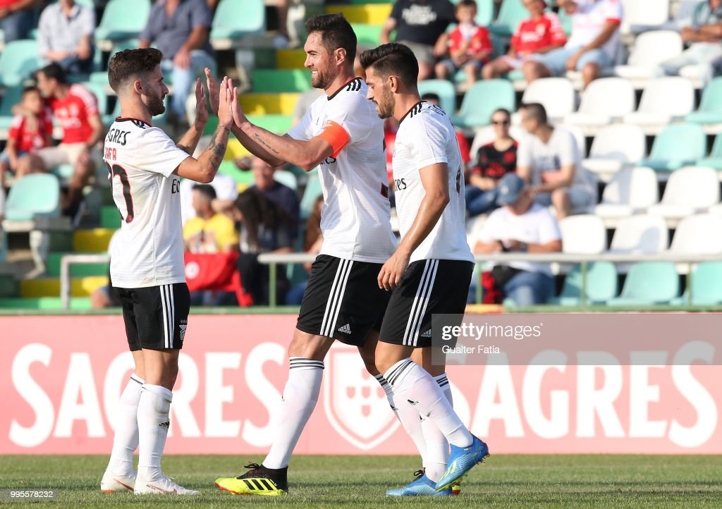 SL Benfica defender Jardel from Brazil celebrates with teammates after scoring a goal during the Pre-Season Friendly match between SL Benfica and FK Napredak at Estadio do Bonfim on July 10, 2018 in Setubal, Portugal.