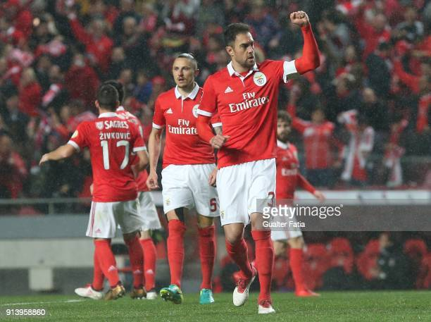 Benfica defender Jardel Vieira from Brazil celebrates after scoring a goal during the Primeira Liga match between SL Benfica and Rio Ave FC at...