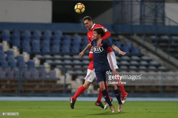 Benfica defender Jardel Vieira from Brazil with CF Os Belenenses midfielder Filipe Chaby from Portugal in action during the Primeira Liga match...