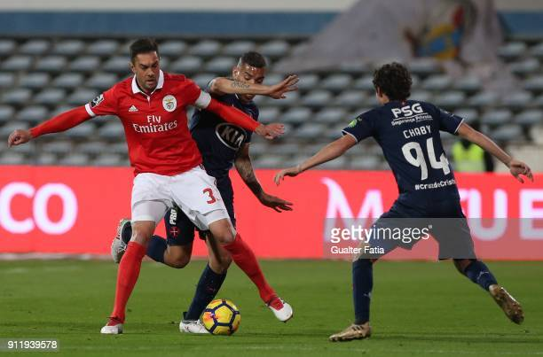 Benfica defender Jardel Vieira from Brazil with CF Os Belenenses forward Maurides from Brazil in action during the Primeira Liga match between CF Os...