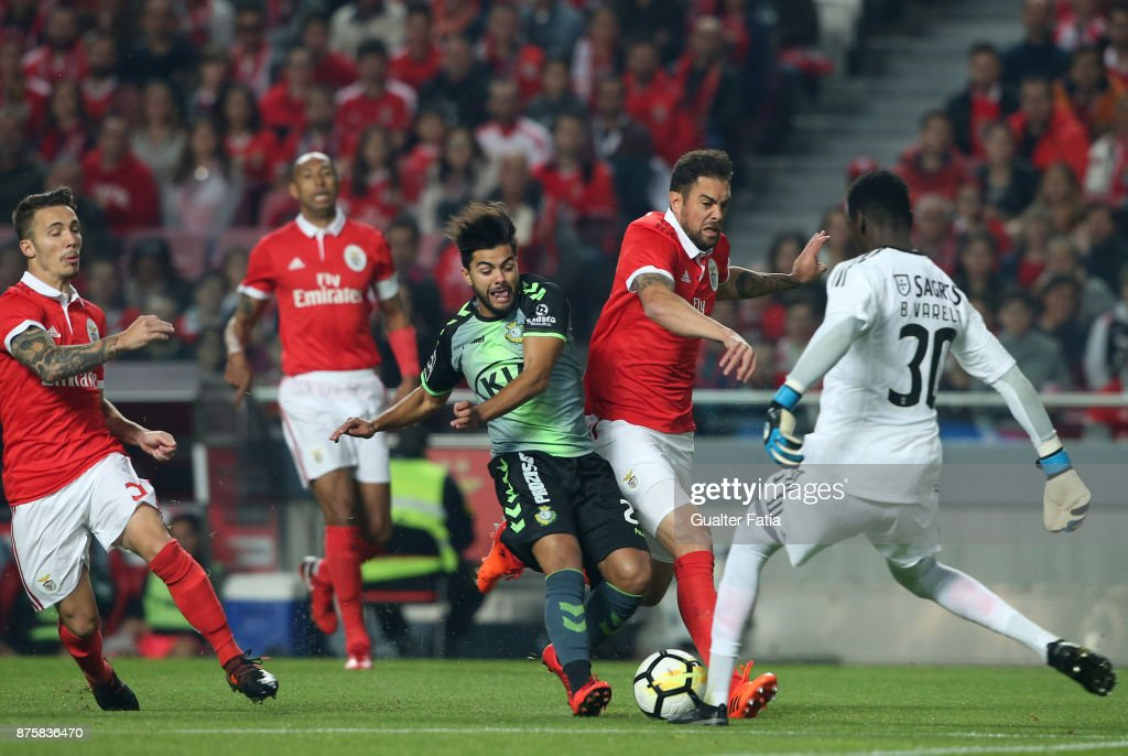 SL Benfica defender Jardel Vieira from Brazil with Vitoria Setubal forward Joao Amaral from Portugal in action during the Portuguese Cup match between SL Benfica and Vitoria Setubal at Estadio da Luz on November 18, 2017 in Lisbon, Portugal.