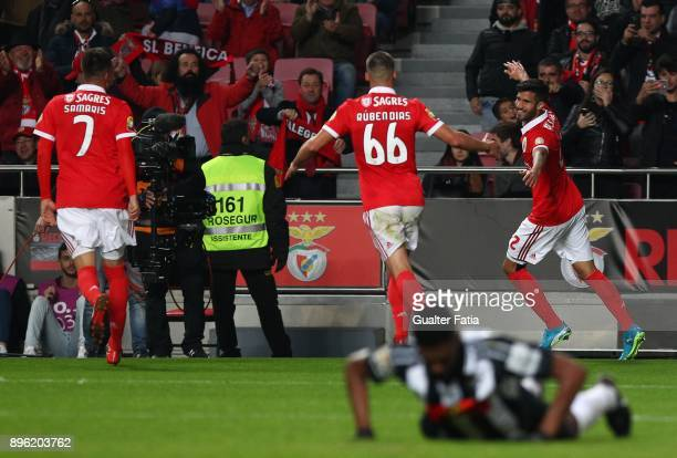 Benfica defender Lisandro Lopez from Argentina celebrates after scoring a goal during the Portuguese League Cup match between SL Benfica and...