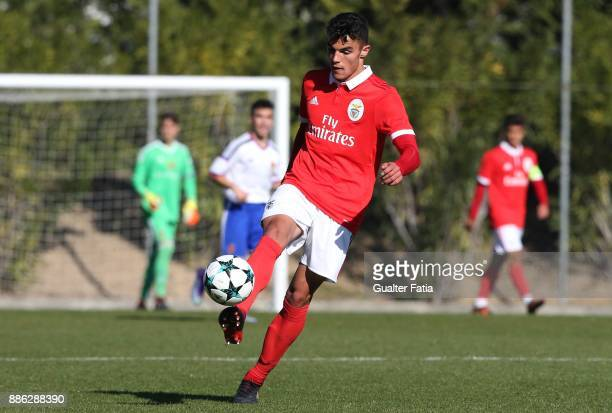 Benfica defender Pedro Alvaro from Portugal in action during the UEFA Youth League match between SL Benfica and FC Basel at Caixa Futebol Campus on...