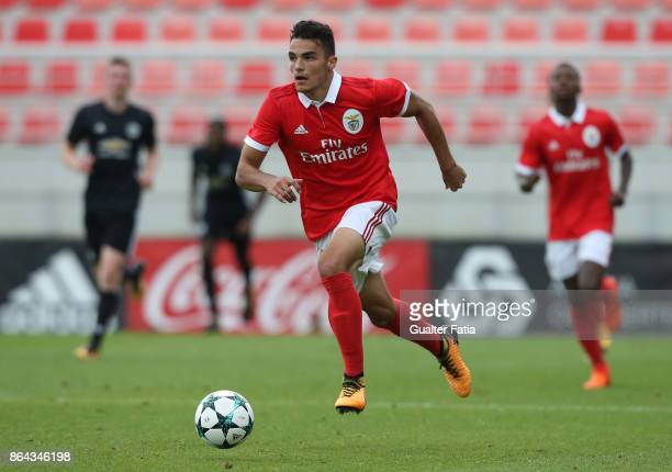 Benfica defender Pedro Alvaro in action during the UEFA Youth League match between SL Benfica and Manchester United FC at Caixa Futebol Campus on...