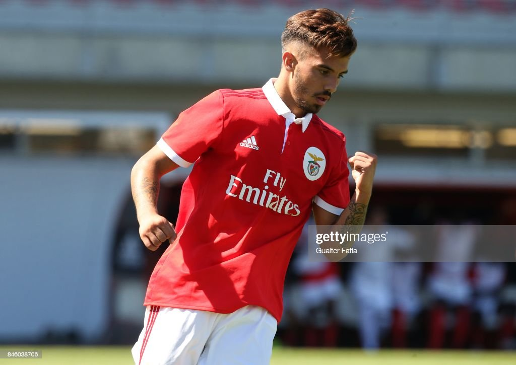 SL Benfica defender Ricardo Araujo celebrates after scoring a goal during the UEFA Youth League match between SL Benfica and CSKA Moskva at Caixa Futebol Campus on September 12, 2017 in Seixal, Portugal.