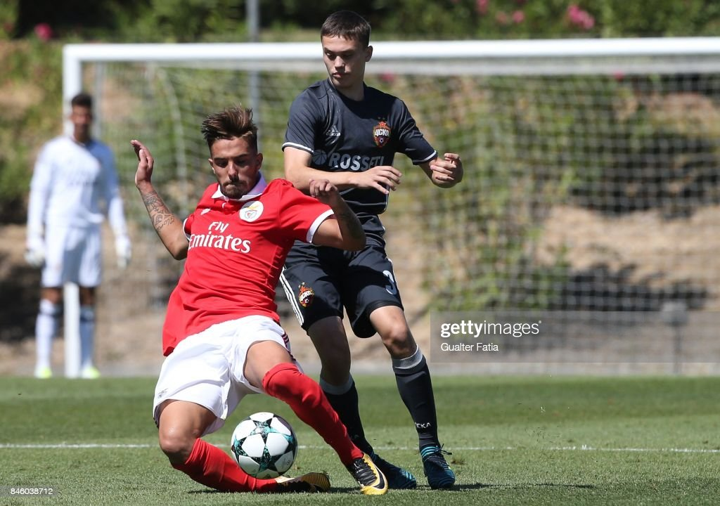 SL Benfica defender Ricardo Araujo with CSKA Moskva midfielder Vitali Zhironkin in action during the UEFA Youth League match between SL Benfica and CSKA Moskva at Caixa Futebol Campus on September 12, 2017 in Seixal, Portugal.