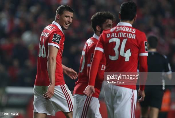Benfica defender Ruben Dias celebrates after scoring a goal during the Primeira Liga match between SL Benfica and CD Aves at Estadio da Luz on March...