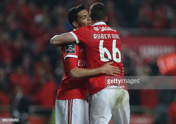 Benfica defender Ruben Dias celebrates with teammate SL Benfica forward Raul Jimenez after scoring a goal in action during the Primeira Liga match...