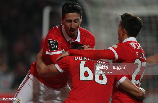 Benfica defender Ruben Dias celebrates with teammates after scoring a goal in action during the Primeira Liga match between SL Benfica and CD Aves at...