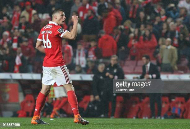Benfica defender Ruben Dias from Portugal celebrates after scoring a goal during the Primeira Liga match between SL Benfica and Rio Ave FC at Estadio...