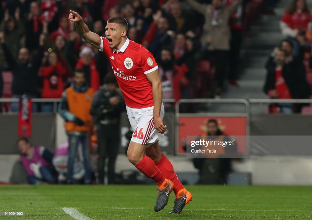 SL Benfica defender Ruben Dias from Portugal celebrates after scoring a goal during the Primeira Liga match between SL Benfica and Boavista FC at Estadio da Luz on February 17, 2018 in Lisbon, Portugal.