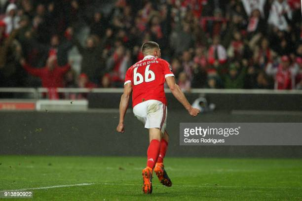 Benfica defender Ruben Dias from Portugal celebrates scoring Benfica fourth goal during the match between SL Benfica and Rio Ave FC for the...