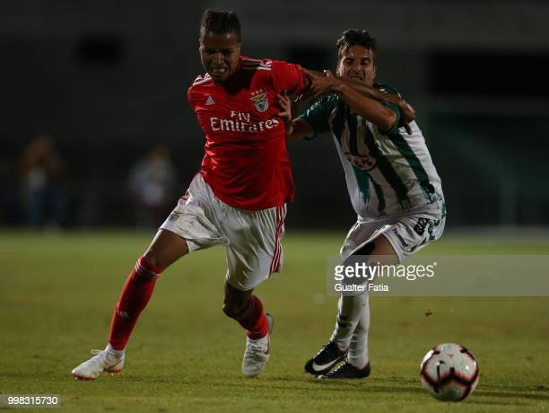 Benfica defender Tyronne Ebuehi from Nigeria with Vitoria Setubal forward Alex Freitas from Portugal in action during the PreSeason Friendly match...