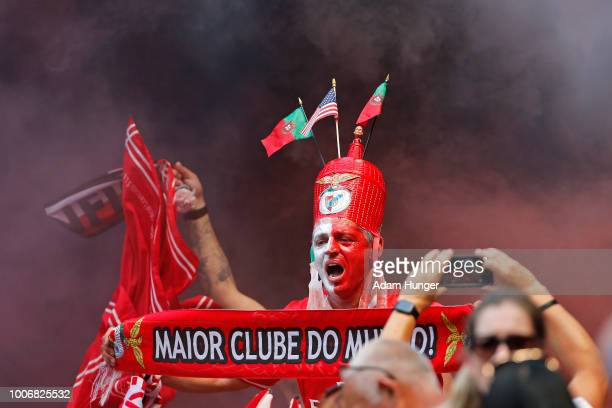 Benfica fan cheers during the International Champions Cup 2018 match between Benfica and Juventus at Red Bull Arena on July 28 2018 in Harrison New...