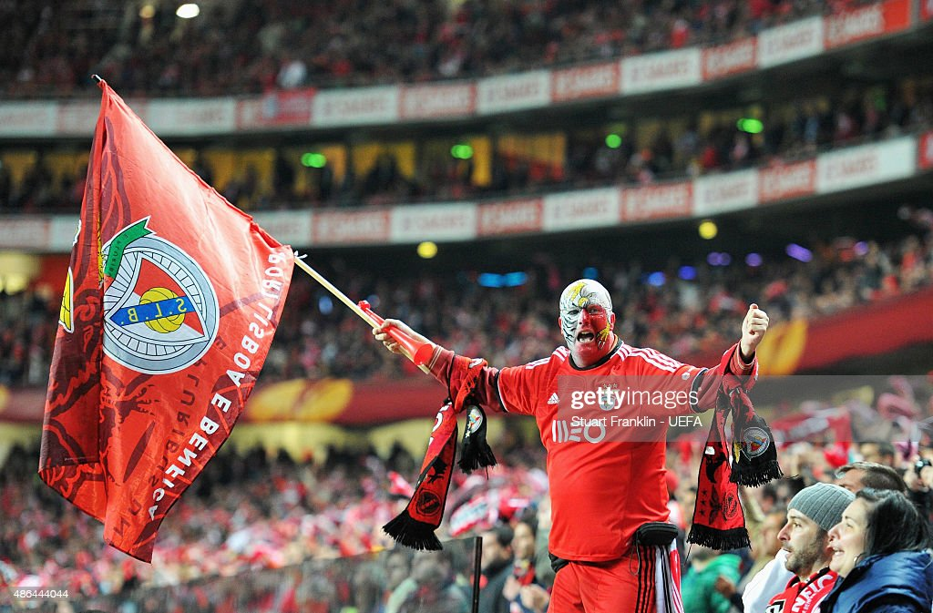A Benfica fan cheers on his team during the UEFA Europa League Semi Final first leg match between SL Benfica andJuventus at Estadio da Luz on April 24, 2014 in Lisbon, Portugal.